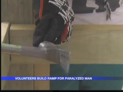 Teen volunteers build wheelchair ramp for Cabot man_-9072006718819383162