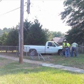 Truck into Fence near Deer Meadow Drive and Chicot Road_7649239260226602537