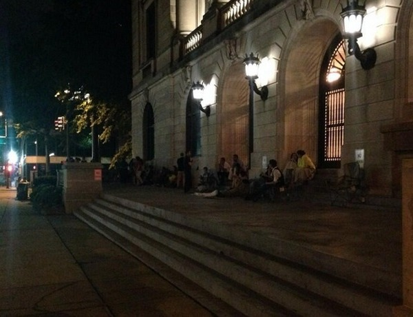 The long line of same sex couples at the Pulaski Co. Courthouse May 12 before dawn, waiting to obtain marriage licenses._6308173918225646379