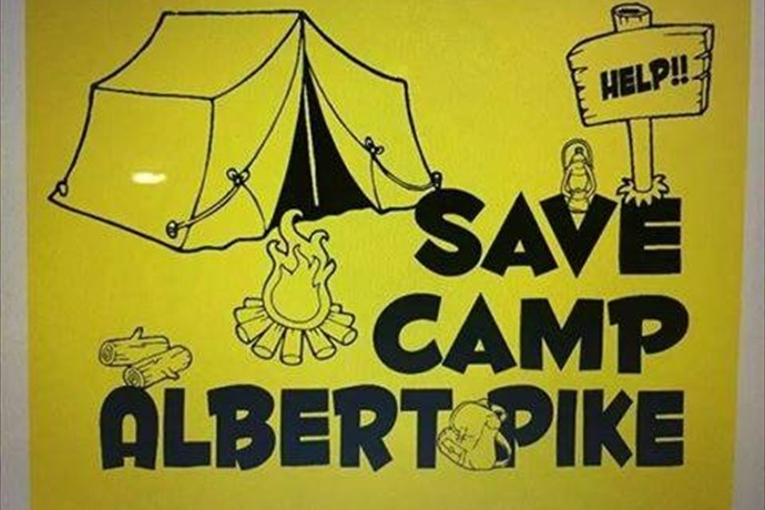 Save Camp Albert Pike sign_-8381370800471850804