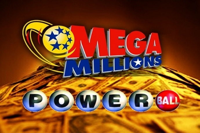 Mega Millions and Powerball Logos over pile of cash_-449316018329924272
