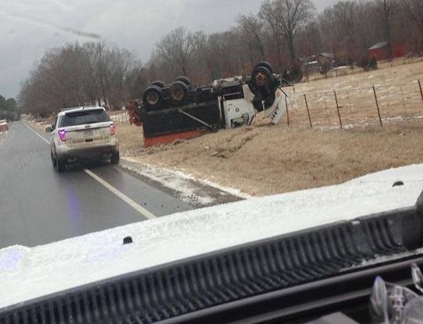 Salt truck flips on Hwy. 36 west of Searcy on Feb. 20._-5550510704464346213