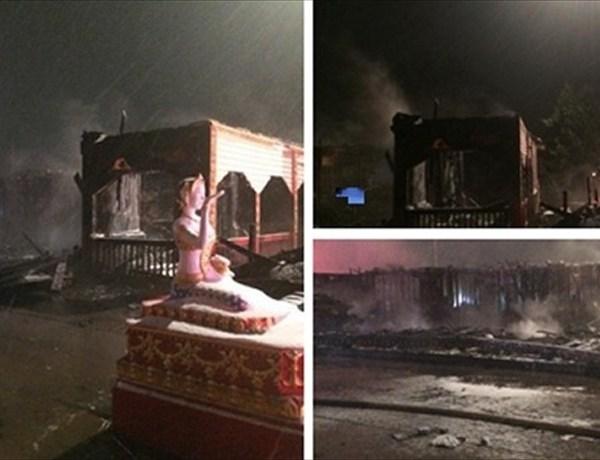 Fatal fire scene in Fort Smith at Buddhist Temple. Photo courtesy_ Reporter Pedro Rivera, 40_29 News._-1811153785071645423
