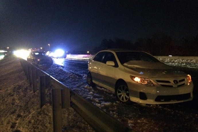 Emergency crews working on an 8 car pile up on I-630 West_2975814437349311849