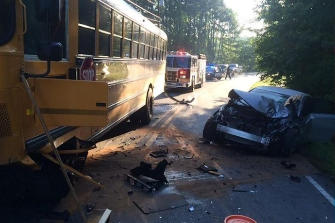 School bus accident with car on Kanis Road_-951853939089453393