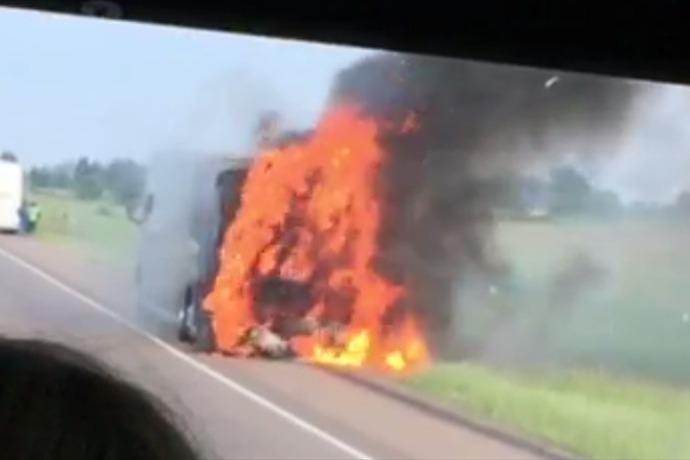 Charter bus fire along I-40 _-7350473793892955661