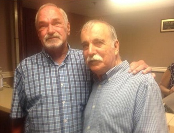 Ernie and Tony first to apply today for same-sex marriage license in Pulaski County. They missed it last year (Twitter)_-8649784475738684431
