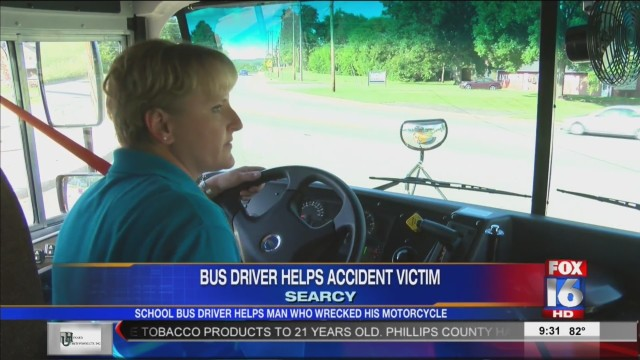 Bus Driver Helps Man After Motorcycle Accident