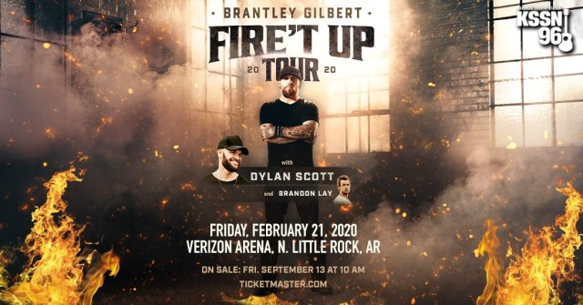 Brantley Gilbert comes to Arkansas in February 2020