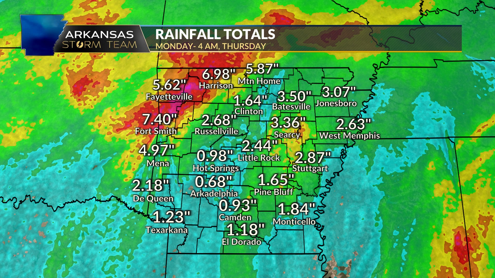 20 Day rainfall totals exceed 20 inches across areas of Arkansas ...