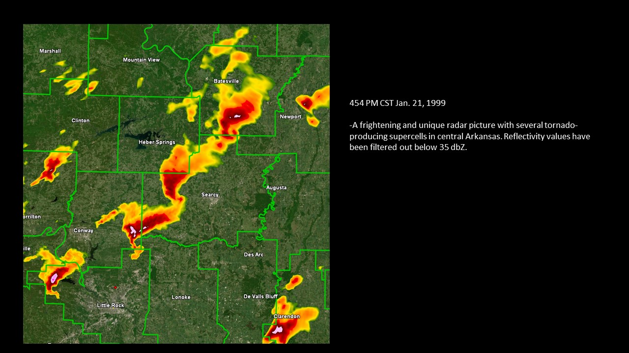 An image of the radar picture from 1999 showing several tornado-producing supercells in central Arkansas.