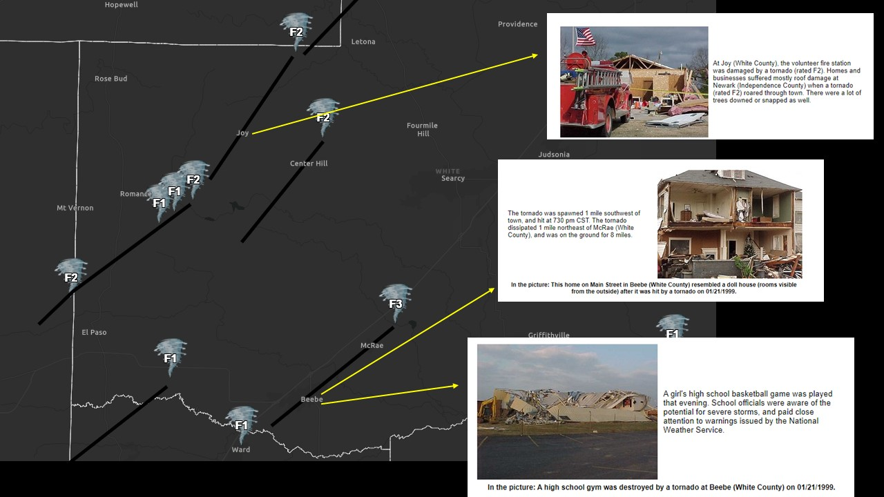 Images of destroyed buildings are superimposed above the image of the map showing the locations of the tornadoes.
